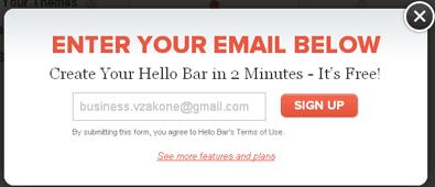 HelloBar вводим E-Mail