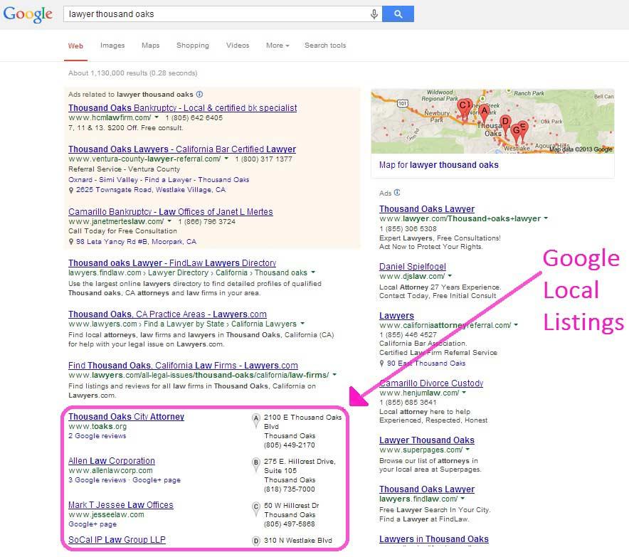 юристы, перечисленные через Google Мой бизнес